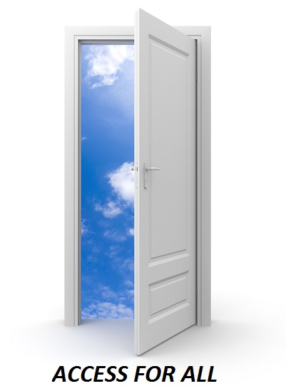 An open door leading to pale blue sky dotted with feathery white clouds