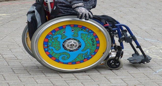 A very artist wheel for a man's wheelchair