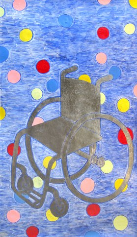 Painting: Silver Wheelchair-acrylic, silver leaf on paper, blue background with multi-color circles and a silver wheelchair